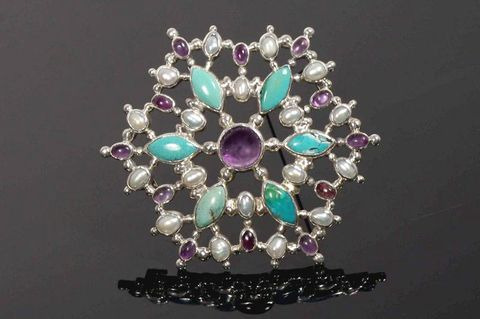 Taygeta,|,SILVER,Pin,Pendant,With,Amethyst,,Turquoise,,Pearl,SILVER Pendant With Amethyst, SILVER Jewellery