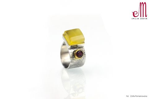 Duet,II,|,SILVER,Ring,With,Amber,And,Garnet,Silver Ring With Amber And Garnet, silver handmade jewellery