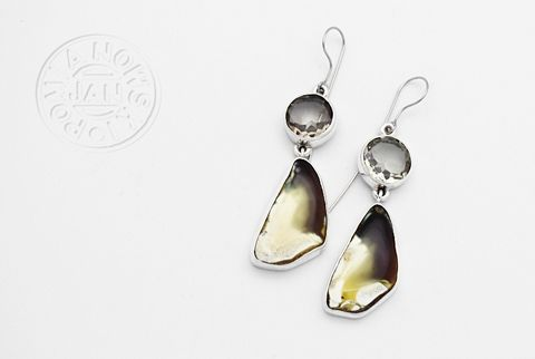 Adele,|,SILVER,EARRINGS,With,AMBER,&,CITRINE,Silver Earrings With Amber & Citrine, silver designer jewellery