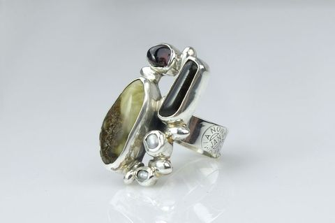 Silver,Ring,With,Amber,,Pearls,,Smoked,Quartz,And,Garnet,Silver Ring With Amber And Smoked Quartz, Silver Jewellery