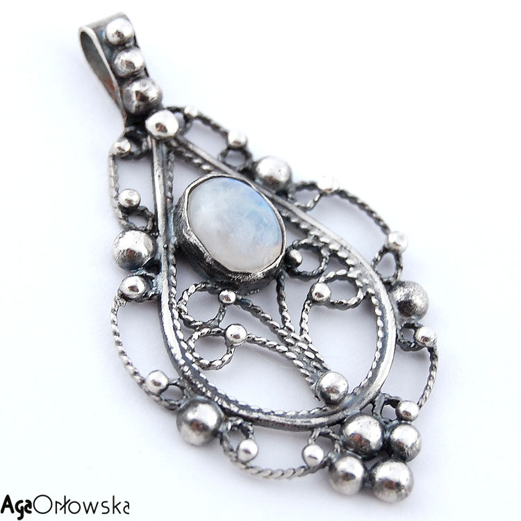 tree of silver pendant with moonstone jewellery