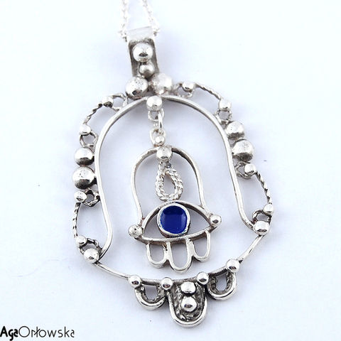 Double,Hamsa,|,Silver,Pendant,With,Enamel,Silver Pendant With Enamel, Silver Jewellery