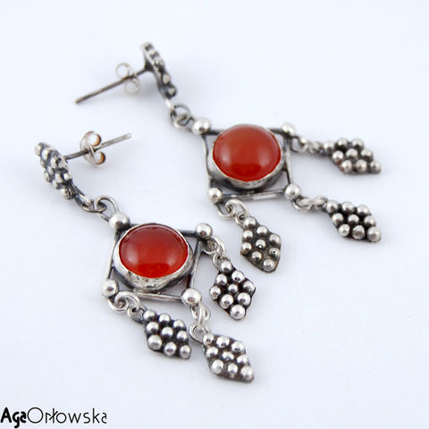 For,Afghan,Princess,I,|,Silver,Earrings,With,Carnelian,Silver Earrings With Carnelian, Silver Jewellery, Tribal Jewellery
