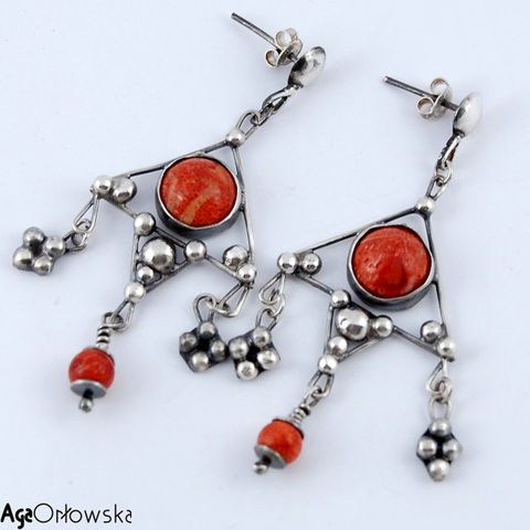 For,Afghan,Princess,II,|,Silver,Earrings,With,Coral,Silver Earrings With Coral, unique handmade jewellery