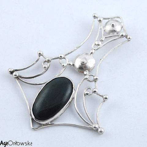 Mjölnir,|,Silver,Pendant,With,Obsidian,Silver Pendant With Obsidian, Silver Jewellery, Tribal Jewellery