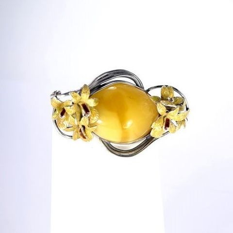 Orchids,|,Silver,Brooch,With,Amber,,Enamel,Orchids Silver Brooch With Amber Enamel, independent online jewellery store