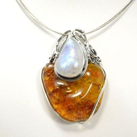 Silver,Pendant,With,Moonstone,&,Amber,Silver Pendant With Moonstone And Amber, Silver Jewellery