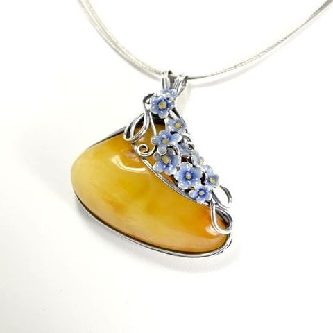 Forget,Me,Not,|,Silver,ENAMEL,Pendant,With,Baltic,Amber,Silver Pendant With Baltic Amber, Silver Jewellery