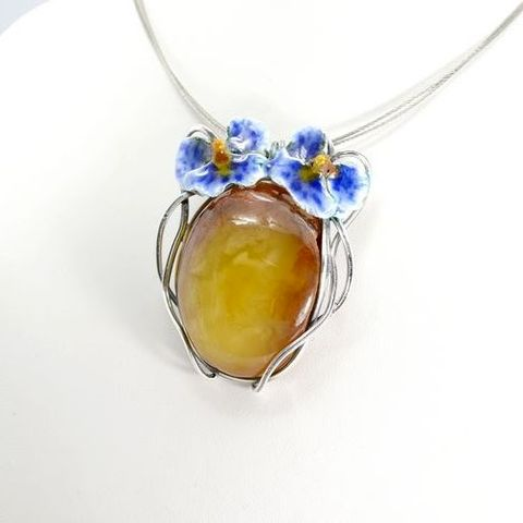 ORCHIDS,|,Silver,Pendant,With,Enamel,And,Amber,Silver Pendant With Enamel And Amber, Silver Jewellery