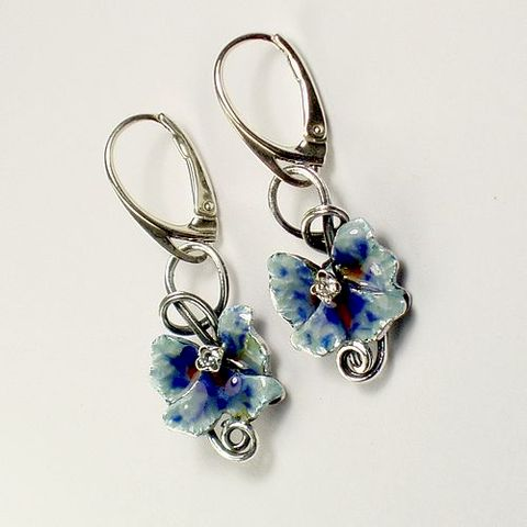 Silver,Earrings,With,Enamel,,Zircons,Silver Earrings With Enamel And Zircons, Silver Jewellery