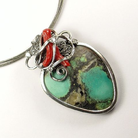 Silver,Pendant,With,Turquoise,And,Coral,Silver Pendant With Turquoise And Coral, Silver Jewellery