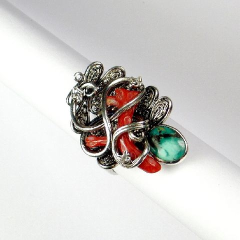 Silver,Ring,With,Turquoise,,Red,Coral,,Zircon,Silver Ring With Turquoise And Red Coral, Silver Jewellery