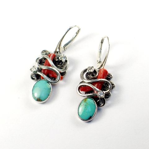 Silver,Earrings,With,Turquoise,,Red,Coral,,Zircon,Silver Earrings With Turquoise And Red Coral, Silver Jewellery