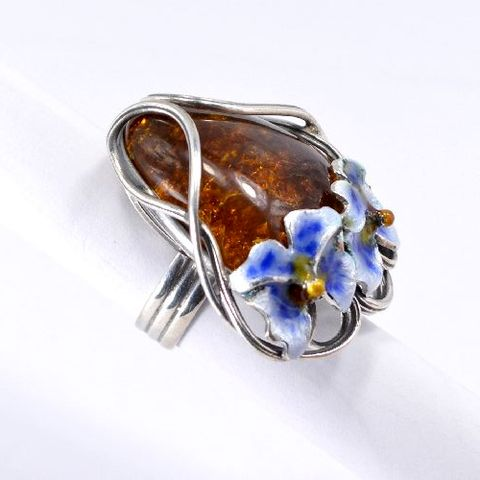 Orchids,|,Silver,Ring,With,Amber,,Enamel,Silver Ring With Amber And Enamel, Silver Jewellery