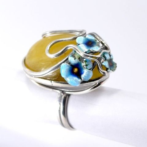 Flowers,|,Silver,Ring,With,Amber,&,Enamel,Silver Ring With Amber And Enamel, Silver Jewellery, Handmade Jewellery