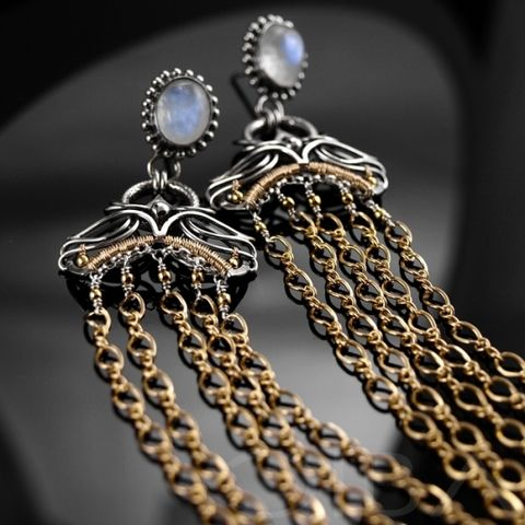 Lumia,|,SILVER,GOLD,PLATED,EARRINGS,With,MOONSTONE,Silver Gold Plated Earrings With Moonstone, Silver Jewellery