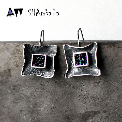 Makassar,|,SILVER,SQUARE,EARRINGS,With,CARBORUNDUM,Silver Square Earrings, carborundum earrings, handmade jewellery
