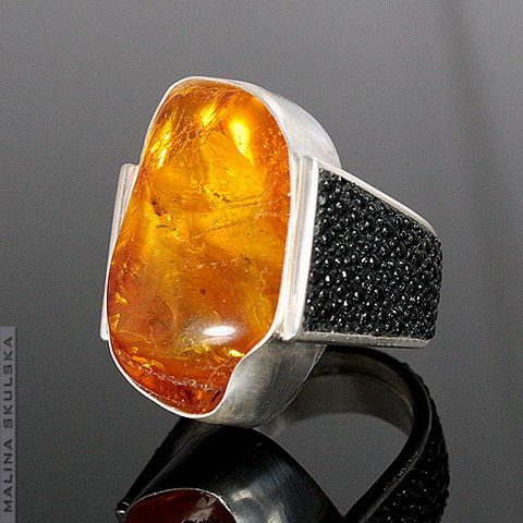 Silver,Ring,With,Amber,And,Ray,Skin,Silver Ring With Amber And Ray Skin, handcrafted jewellery united kingdom