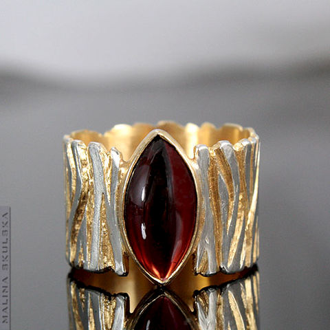 Gold,Plated,Silver,Ring,With,Garnet,Gold Plated Silver Ring With Garnet, bespoke jewellery united kingdom