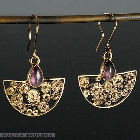 Filigree,Fans,|,Silver,Gold,Plated,Earrings,With,Tourmaline,Filigree Fans Silver Gold Plated Earrings With Tourmaline, silver handmade jewellery
