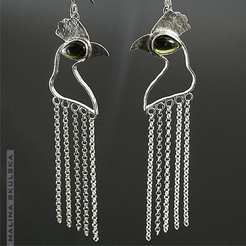 Roosters,|,Silver,Earrings,With,Tourmaline,Roosters Silver Earrings With Tourmaline, designer jewellery united kingdom
