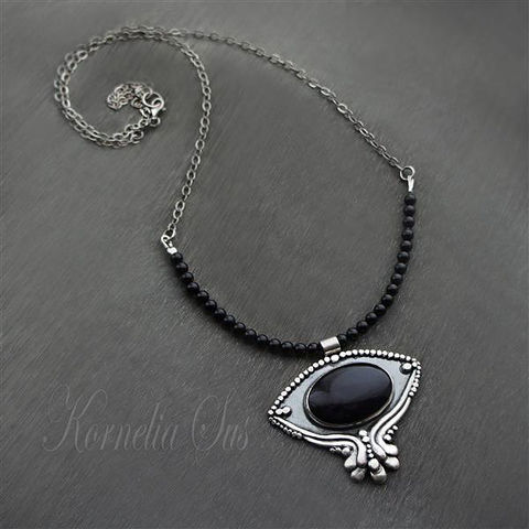 Darkness,|,Beaded,Onyx,Necklace,With,Obsidian,,Silver,onyx beaded necklace, sterling silver jewellery, obsidian pendant