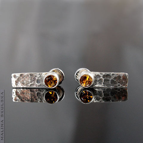 Hammered,|,Silver,Stud,Earrings,With,Yellow,Tourmaline,Hammered Silver Stud Earrings With Yellow Tourmaline, designer jewellery united kingdom