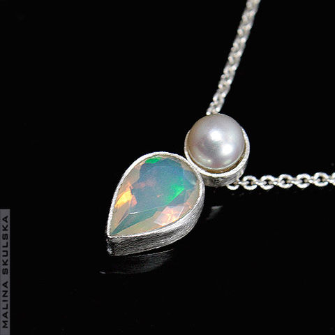 Silver,Necklace,With,Ethiopian,Opal,And,Pearl,Silver Necklace With Ethiopian Opal And Pearl, unique jewellery uk