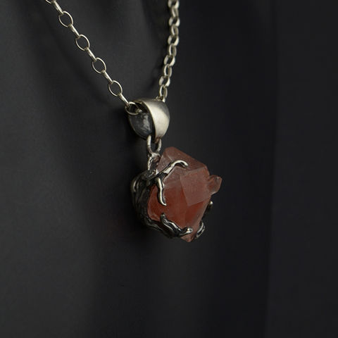 Silver,Pendant,With,Quartz,&,Hematite,Silver Pendant With Quartz Hematite, handmade jewellery store London