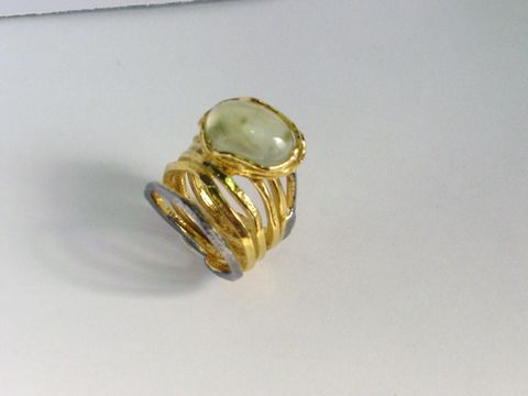 IM,XXXIII,|,Gold,Plated,Prehnite,Ring,Gold Plated Prehnite Ring, silver jewellery, prehnite silver ring