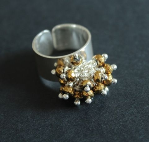 Silver,&,Gold,|,SILVER,HEMATITE,CLUSTER,RING,Hematite Cluster Ring, silver band ring, artisan jewellery