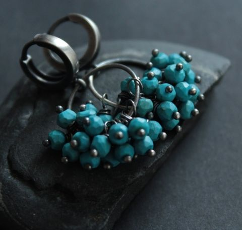 SILVER,TURQUOISE,CLUSTER,EARRINGS,Turquoise Cluster \Earrings, silver hoops, bespoke jewellery online