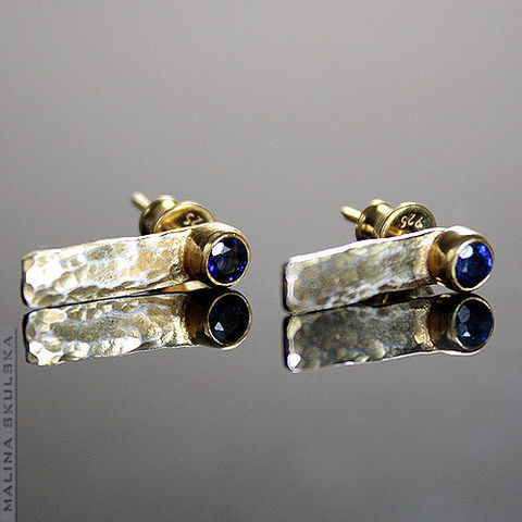 Hammered,|,Gold,Plated,Sapphire,Stud,Earrings,Hammered Gold Plated Sapphire Stud Earrings, handmade jewellery