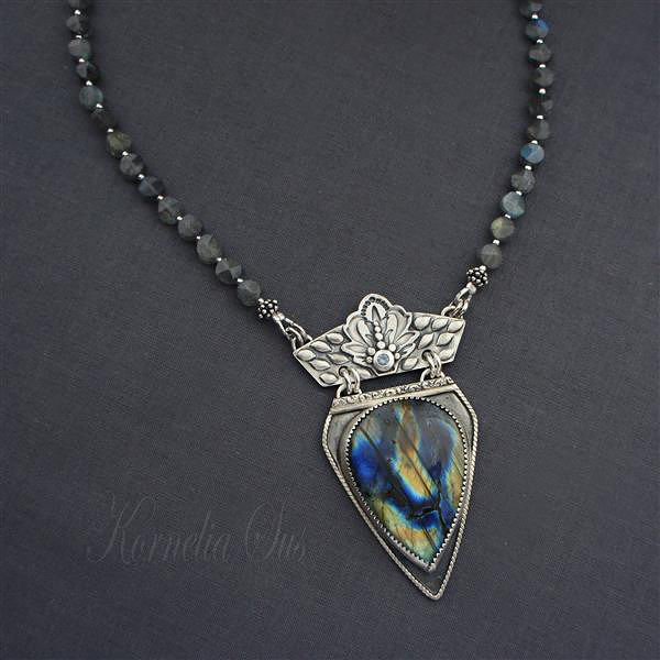 At The Feet Of The Grass | Silver Labradorite Necklace - product images  of