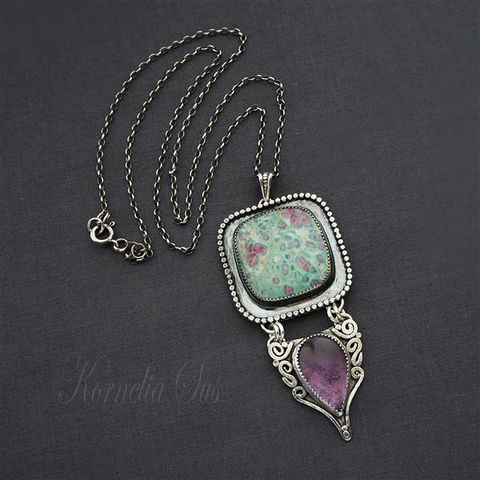 Dark,Herbs,|,Silver,Necklace,With,Ruby,And,Amethyst,Silver Necklace With Ruby, silver jewellery online, silver amethyst necklace
