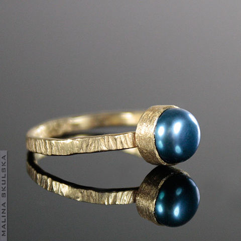 Blue,Pearl,Gold,Plated,Ring,Blue Pearl Gold Plated Ring, handmade jewellery