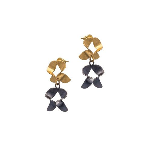 Frolic,|,GOLD,PLATED,&,OXIDISED,STUD,EARRINGS,Gold Plated Stud Earrings, oxidised silver studs, handmade jewellery