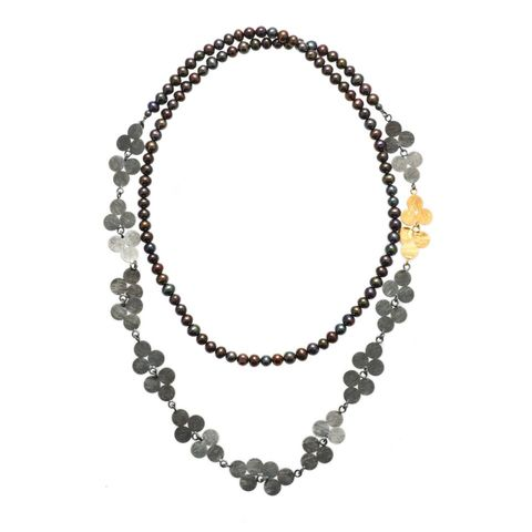 Hot,Spot,|,GOLD,PLATED,&,OXIDISED,NECKLACE,With,PEARLS,Gold Plated & Oxidised Necklace, pearl silver necklace, silver jewellery online