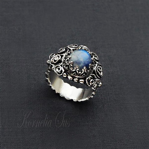 Bouquet,Of,The,Sky,|,SILVER,MOONSTONE,RING,Silver Moonstone Ring, Moonstone ring, silver jewellery