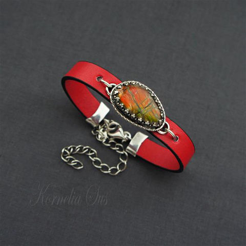 Dragon,Scale,|,Strap,Bracelet,With,Ammolite,Dragon Scale Strap Bracelet With Ammolite, handmade jewellery