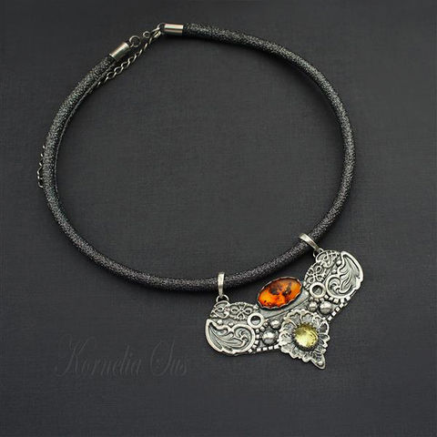 Far,From,The,City,|,AMBER,&,LEMON,QUARTZ,NECKLACE,Amber & Lemon Quartz Necklace, silver lemon quartz necklace, silver jewellery