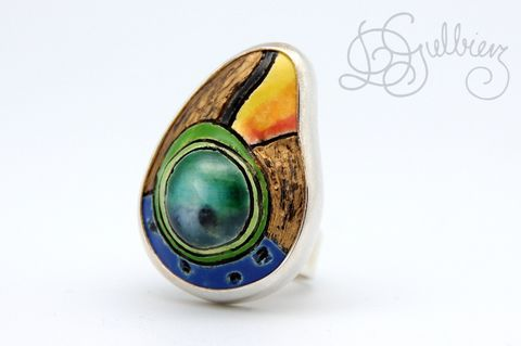 Under,the,Parrots,|,SILVER,RING,With,CERAMIC,Silver Ring With Ceramic, ceramic handmade jewellery