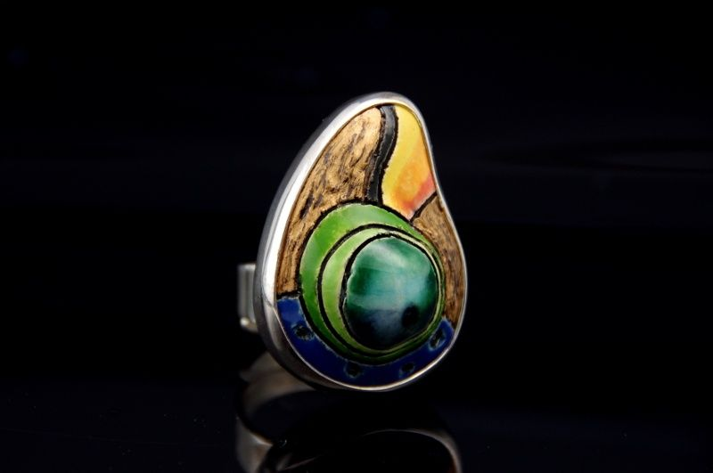 Under the Parrots | SILVER RING With CERAMIC - product images  of