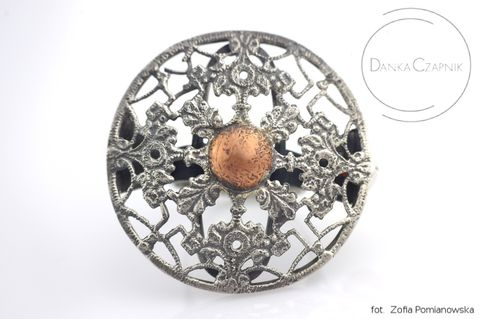STATEMENT,SILVER,RING,With,Copper,&,AMBER,Statement Silver Ring With Copper, amber silver ring, handmade jewellery