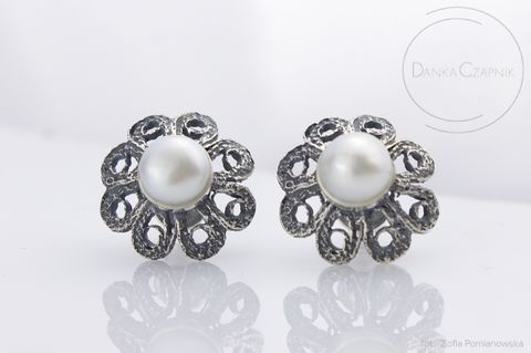 SILVER,FILIGREE,STUD,EARRINGS,With,PEARLS,Silver Filigree Earrings, pearl studs, handmade jewellery
