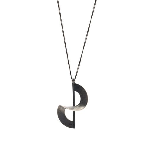 Twisted,|,OXIDISED,SILVER,PENDANT,NECKLACE,Oxidised Silver Pendant Necklace, Silver pendant, handmade jewellery London