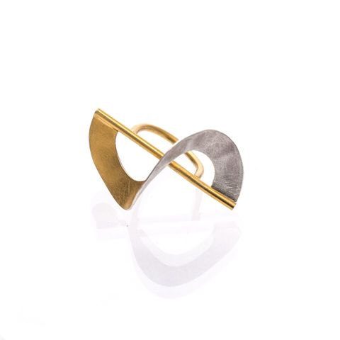 Twisted,|,STERLING,SILVER,&,GOLD,PLATED,RING,Sterling Silver & Gold Plated Ring, Gold plated ring, silver jewellery