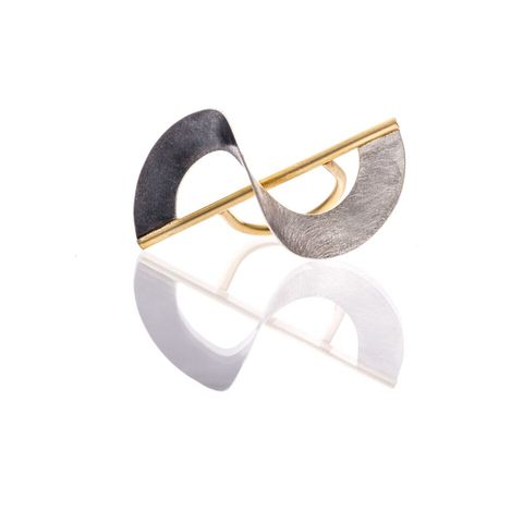 Twisted,|,OXIDISED,&,GOLD,PLATED,SILVER,RING,Oxidised & Gold Plated Silver Ring, Gold plated ring, silver jewellery
