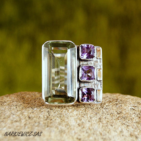 AMETHYSTS,&,GOLD,STATEMENT,RING,Amethysts & Gold Statement Ring, silver jewellery online