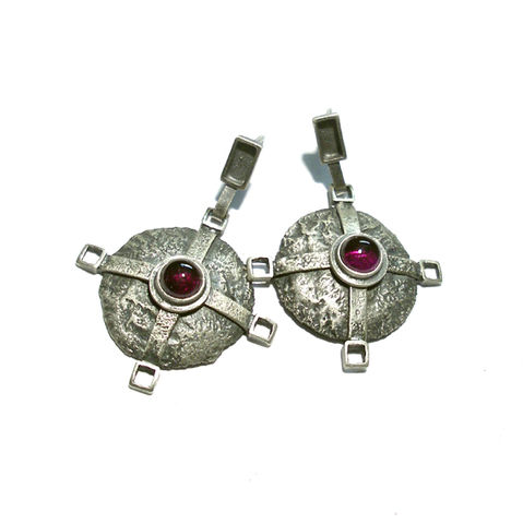 Panay,|,SILVER,DANGLE,STUDS,With,GARNETS,Silver Dangle Earrings, garnet studs, handmade silver jewellery